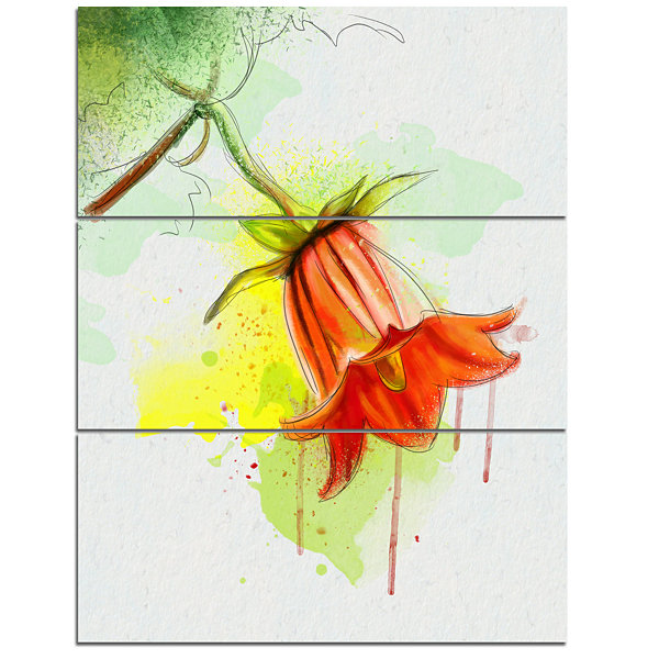 Designart Red Bellflower Sketch Watercolor FloralCanvas Art Print - 3 Panels