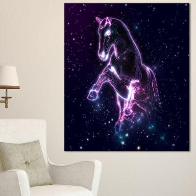 Design Art Purple Abstract Horse Animal Canvas Wall Art