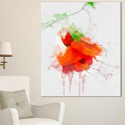 Designart Red Rose Watercolor Illustration FloralCanvas Art Print