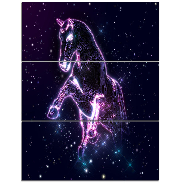 Designart Purple Abstract Horse Animal Canvas WallArt - 3 Panels