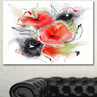 Designart Red Black Abstract Floral Design ExtraLarge Floral Wall Art - 3 Panels