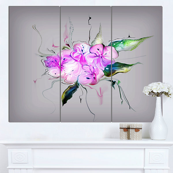 Design Art Purple And Pink Pansies Flowers Large Animal Canvas Art Print - 3 Panels