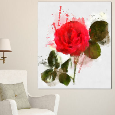 Designart Red Rose With Green Petals Floral CanvasArt Print