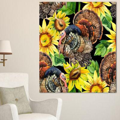 Designart Turkey Bird With Sunflowers Floral Canvas Art Print - 3 Panels
