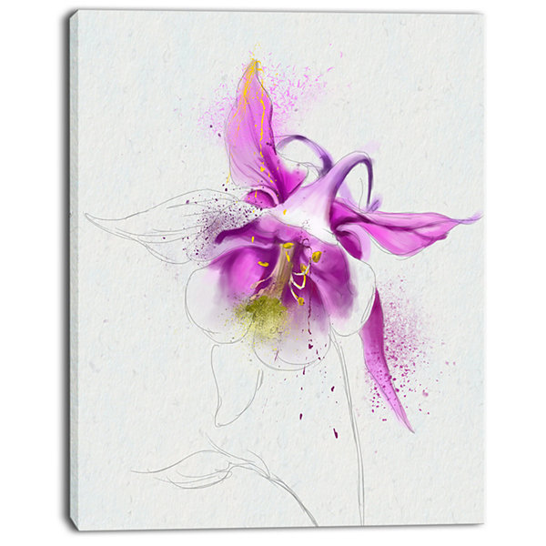 Designart Purple Aquilegia Watercolor Sketch Floral Canvas Art Print