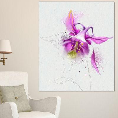 Designart Purple Aquilegia Watercolor Sketch Floral Canvas Art Print - 3 Panels
