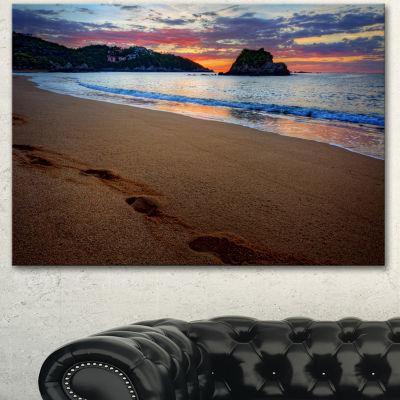 Designart Trodden Sand On Ocean Beach Seashore Photo Canvas Art Print - 3 Panels