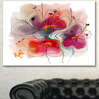 Design Art Red Blue Flower Illustration Extra LargeFloral Wall Art - 3 Panels