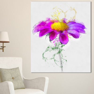 Designart Purple Daisy Flower With Stem Flowers Canvas Wall Artwork