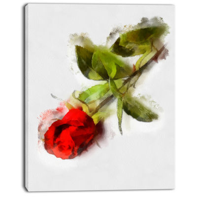 Designart Red Rose With Stem Drawing Flower Artwork On Canvas