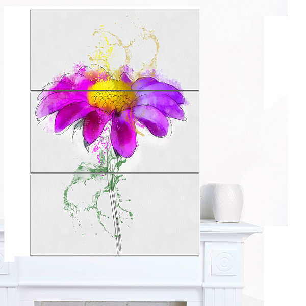 Designart Purple Daisy Flower With Stem Flowers Canvas Wall Artwork - 3 Panels