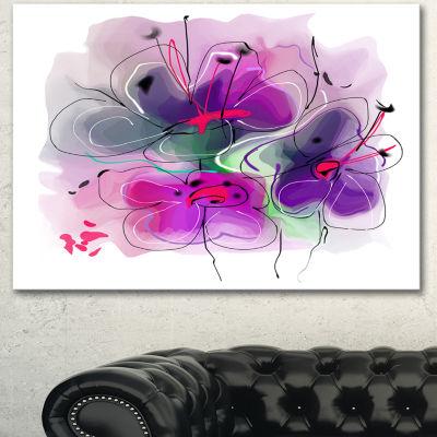 Designart Purple Flower Illustration Sketch FloralCanvas Art Print