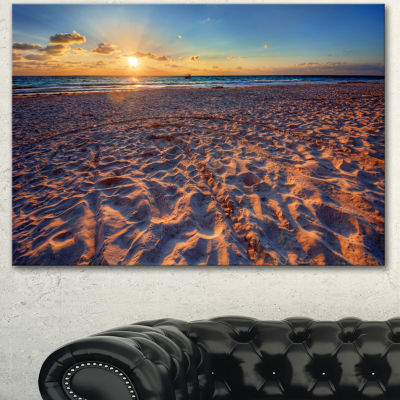 Designart Trodden Sandy Beach At Sunset SeashoreCanvas Art Print - 3 Panels