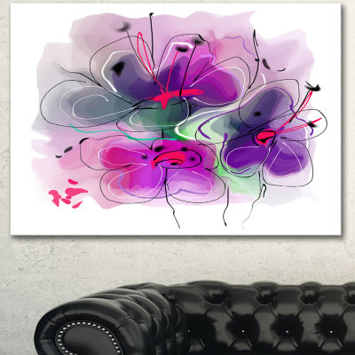 Designart Purple Flower Illustration Sketch FloralCanvas Art Print - 3 Panels