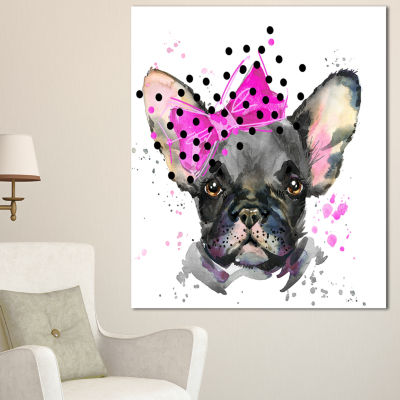 Design Art Serious French Bulldog Watercolor Animal Canvas Wall Art