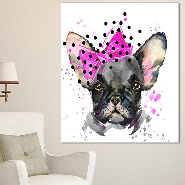 Designart Serious French Bulldog Watercolor AnimalCanvas Wall Art - 3 Panels