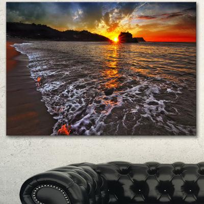 Designart Setting Sun And White Waves Seashore Photo Canvas Art Print