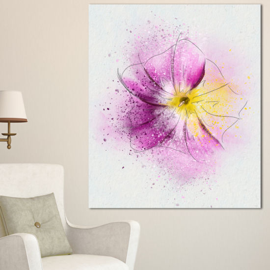 Designart Purple Flower Sketch With Splashes Floral Canvas Art Print
