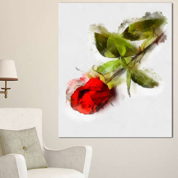 Design Art Red Rose With Stem Drawing Flower Artwork On Canvas - 3 Panels