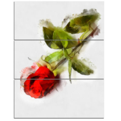 Designart Red Rose With Stem Drawing Flower Artwork On Canvas - 3 Panels