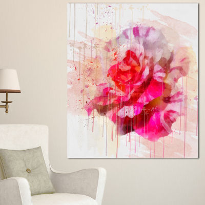 Designart Red Rose With Watercolor Splashes FloralCanvas Art Print