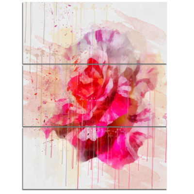 Designart Red Rose With Watercolor Splashes FloralCanvas Art Print - 3 Panels