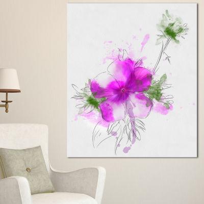 Designart Purple Flower Sketch With Stem Large Floral Canvas Artwork - 3 Panels