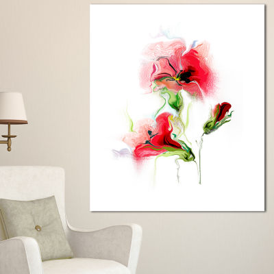 Designart Red Floral Watercolor Illustration LargeAnimal Canvas Art Print