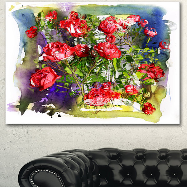 Designart Red Roses Bunch Watercolor Floral Art Canvas Print - 3 Panels