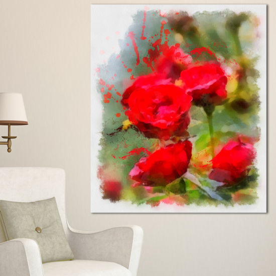 Designart Red Roses On Green Watercolor Flower Artwork On Canvas