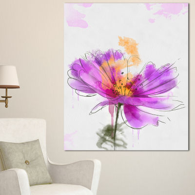 Designart Purple Flower Watercolor Illustration Flowers Canvas Wall Artwork