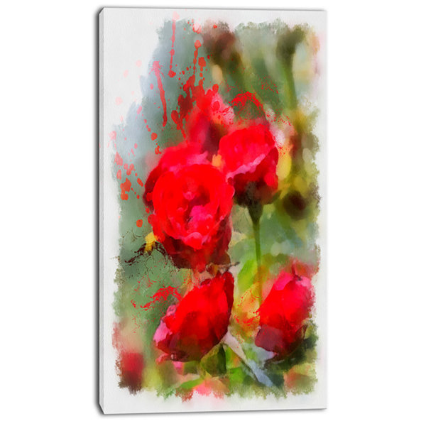 Design Art Red Roses On Green Watercolor Flower Artwork On Canvas