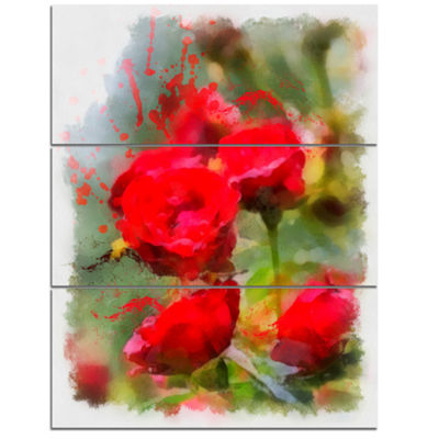 Designart Red Roses On Green Watercolor Flower Artwork On Canvas - 3 Panels