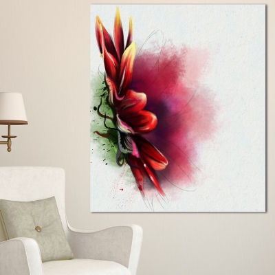 Designart Red Sunflower Watercolor Sketch FlowersCanvas Wall Artwork