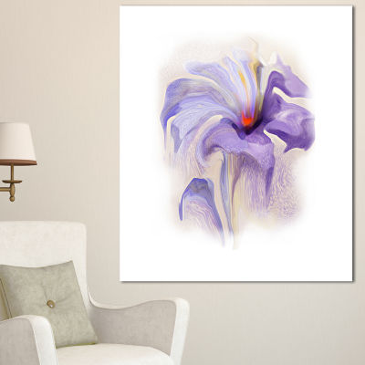 Design Art Purple Flower Watercolor Illustration Large Animal Canvas Art Print - 3 Panels