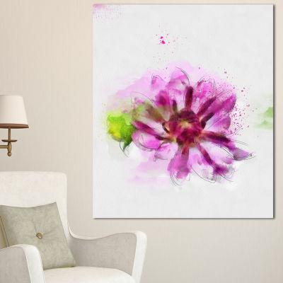 Designart Purple Flower With Green Leaves FloralCanvas Art Print