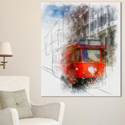 Designart Red Trolley Car Watercolor Sketch LargeCityscape Canvas Art Print