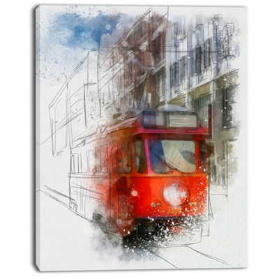 Designart Red Trolley Car Watercolor Sketch LargeCityscape Canvas Art Print