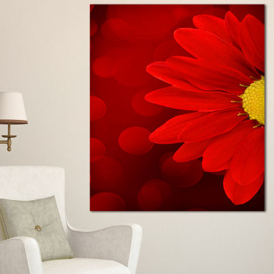 Designart Red Flower With Lit Up Background LargeFloral Canvas Artwork - 3 Panels
