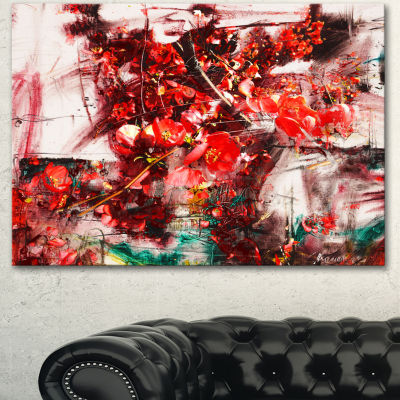 Designart Red Flowers Abstract Background Large Abstract Canvas Artwork