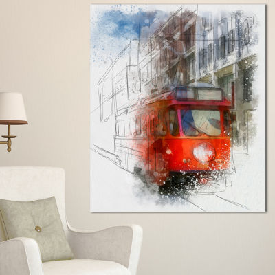 Design Art Red Trolley Car Watercolor Sketch LargeCityscape Canvas Art Print - 3 Panels