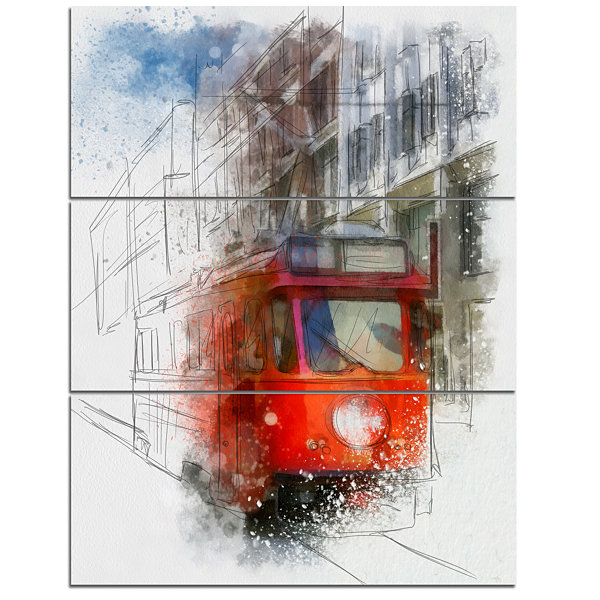 Designart Red Trolley Car Watercolor Sketch LargeCityscape Canvas Art Print - 3 Panels