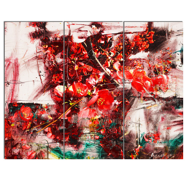 Design Art Red Flowers Abstract Background Large Abstract Canvas Artwork - 3 Panels