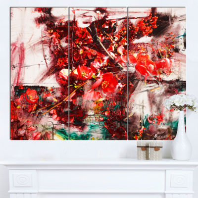 Designart Red Flowers Abstract Background Large Abstract Canvas Artwork - 3 Panels