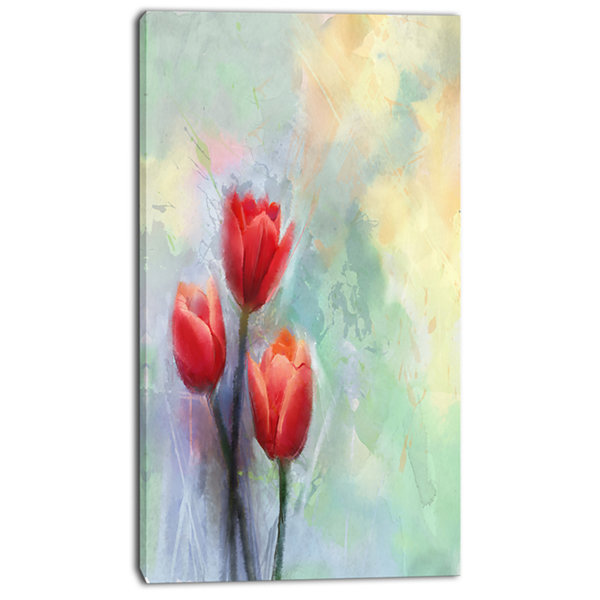 Design Art Red Tulips On Light Blue Watercolor Large Floral Canvas Artwork