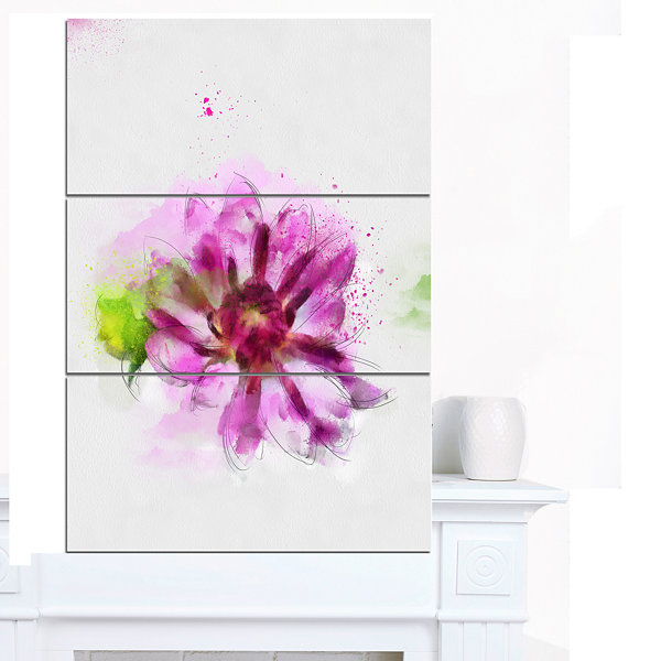 Designart Purple Flower With Green Leaves FloralCanvas Art Print - 3 Panels