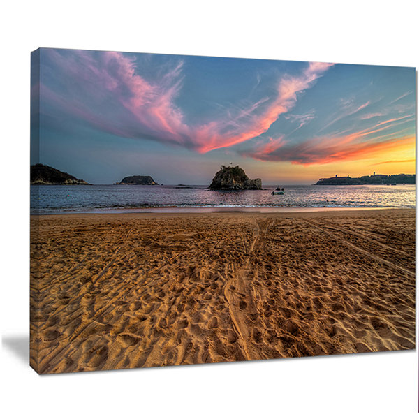 Design Art Trodden Sand On Beach At Sunset SeashoreCanvas Art Print