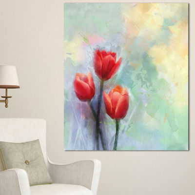 Design Art Red Tulips On Light Blue Watercolor Large Floral Canvas Artwork - 3 Panels