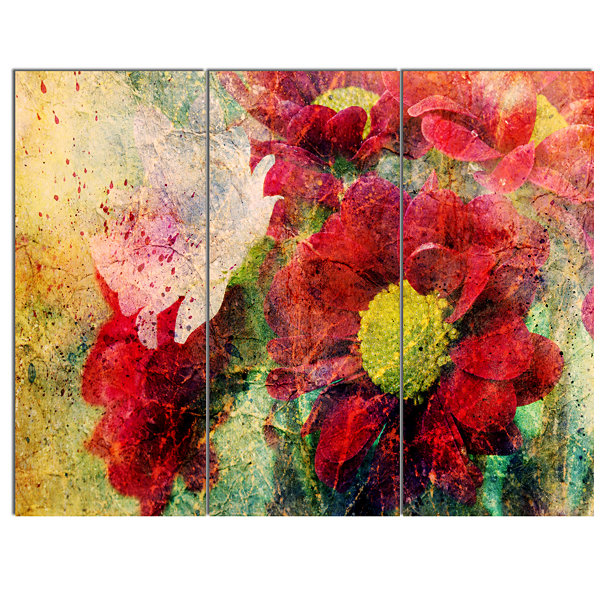 Designart Red Flowers And Watercolor Splashes Flower Artwork On Canvas - 3 Panels