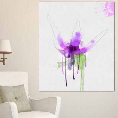 Designart Purple Flower With Green Splash FloralCanvas Art Print